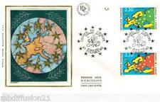 1990**ENVELOPPE SOIE**FDC 1°JOUR**CARTE EUROPE ET ETOILES**TIMBRE Y/T 104-105