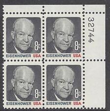 1394 Plate block 8cent DDE Dwight D Eisenhower General President