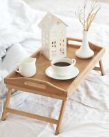 Bamboo Bed Tray Breakfast Laptop Desk Food Serving Table Folding Legs