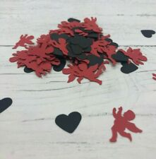 Red Cupid Black Hearts Table Top Confetti Wedding Romantic Valentines Love