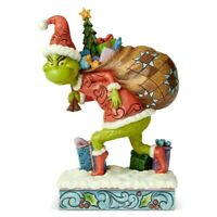 "Dr. Seuss Grinch by Jim Shore Grinch Tip Toeing with Bag of Gifts 7.7"" Figurine"