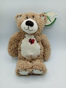 First & Main Tender Teddy Brown Bear Plush Stuffed Animal Red Heart NWT