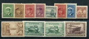Weeda Canada 249-260 VF mint War Issue short set, glazed gum CV $51