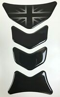 Motorcycle Tank Protector Sticker Gloss Black with Faded Union Jack - DOMED GEL