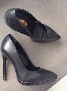 Genuine Leather black Stilettos Size 6 / Eu 37 by TOPSHOP In Excellent Condition