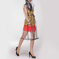 Damen Regenmantel Regenjacke Transparent Kapuze Knöpfen Regenschutz mit Bund