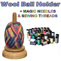 Spinning Wool Yarn Ball Holder Knitting Cotton Storage Organiser Wooden Craft UK