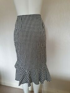 NEW BNWT SIZE 16 GINGHAM SKIRT M&S COLLECTION BLACK WHITE SUMMER Frill