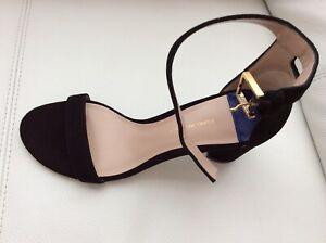NEW Stuart Weitzman Women's Black Suede Leather  Heeled Sandal US 8