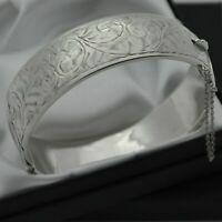 1960 Vintage Heavy 925 Silver 1/2 Engraved Scroll Design Hinged Bangle Bracelet