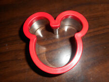 NEW DISNEY MICKEY MOUSE METAL SANDWICH CUTTER W RED PLASTIC TOP