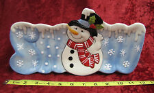 """Collectible Fitz And Floyd """"Snack Therapy"""" Country Snowman Ceramic Tray"""