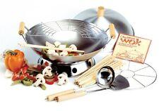 "10 Piece Wok Set 14"" Carbon Steel Lid Reversible Burner Ring Chopsticks Ladle"