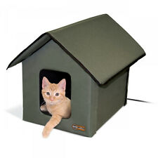 K&H Heated Soft Cat House Indoor/Outdoor, Olive Water-Resistant Pet Home NEW