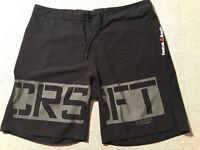 Reebok Crossfit Polyester Blend Black Trunks Drawstring Board Shorts Sz 40 # H2