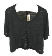 Kim Rogers Ladies Womens Black One Button Short Sleeve Shrug Cardigan Size M NWT