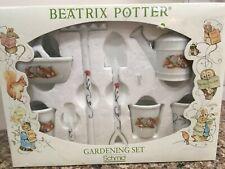 Schmid Beatrix Potter Gardening Set Porcelain 8 Pieces Mint in Box Fairy Garden