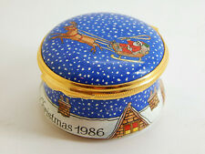 Halcyon Days Enamel Hinged Trinket Box - Christmas 1986 - Santa and his reindeer