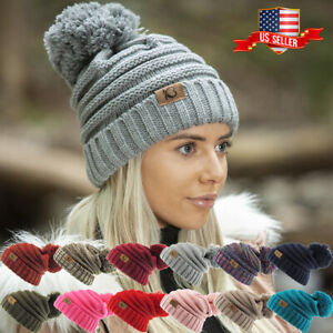Chunky Cable Knit Slouch Pom Beanie Oversized Hanging Women Ski Hat Winter