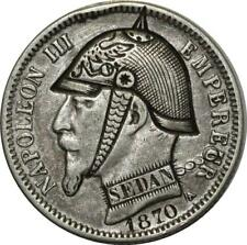 O950 RARE 1 Franc Napoléon III 1869 1870 Satirique Défaite de Sedan Argent