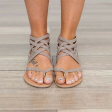 Womens Low Flat Heel Ladies Zip Back Gladiator Sandals Flip Flops Open Toe Shoes