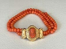 Antique Victorian Coral Cameo and 18K Gold Bracelet