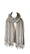 Stripe Unisex Mens Ladies Women's Girls Boys Scarf Stole Scarve Grey/Orange
