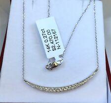 14k Solid White Gold BAR Pendant Genuine 0.27CT Diamond Necklace. Retail $2,470