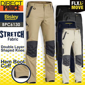 Bisley Mens Work Pants Stretch Cotton Canvas FLEX and MOVE & NEW BPC6130