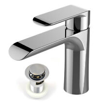 Modern Basin Sink Tap Round Mixer Chrome Mono Bloc Bathroom Cloakroom with Waste