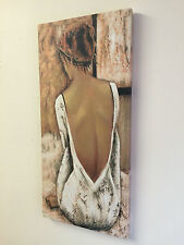 50 x 23 cm Oil on Canvas Woman in Backless Dress Detailed Pretty Wall Art  MEZ 2