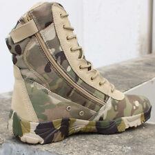 Mens outdoor camo highTop combat boots military hiking waterproof Tactical shoes