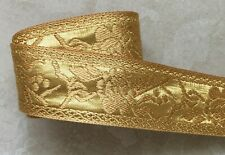 Jacquard Ribbon, 1+1/2 inch Gold – Beige price per yard