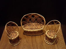 NEW: Wicker Furniture - Loveseat and Two Chairs for Barbie, Monster High Diorama