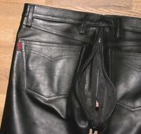 """R&Co RoB gay `le LEDERJEANS / Lederhose mit PO Zipper schwarz ca. W37"""" /L35"""""""