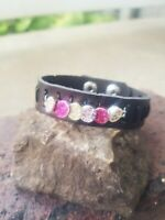 womens handmade adjustable snap dark brown leather cuff with pink sparkling gem