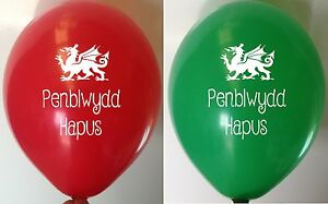 10 Welsh Happy Birthday Balloon Penblwydd Hapus Novelty Party Balloons Red Green