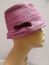 Vintage TIERED PINK PILLBOX HAT Pleated Textured Fabric VELVET BOW ULTRA CHIC!