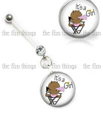 """Navel Retainer Glass Top 14ga 2"""" 50mm It's A Girl Maternity Belly Ring Pregnancy"""