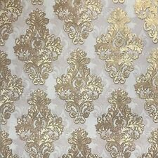 Vintage style paper Wallpaper rolls wallcoverings damask violet gold textured 3D