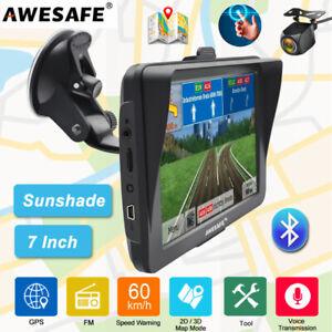 "7""AWESAFE Bluetooth GPS Navigator For Car Truck Navigation Sunshade Reverse Cam"