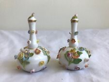 Pair of 19th Century Meissen Miniature Porcelain Perfume Bottles with Top