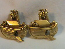 Vintage Noah's Ark Flat Gold  Tone Clip on Earrings signed A.J.C.