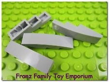 New LEGO Lot of 4 Curved SLOPE Light Bluish Gray Stone 4x1 Brick Part