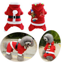 Xmas Cute Dog Clothes Pet Outfit Winter Hoodie Coat Poodle Warm Four Legs Suit--