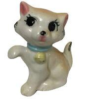 Vintage Ceramic Kitten Cat Figurine Eyelashes Playful Kitty Japan Big Eyes Read