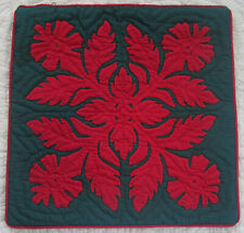 """2 Hawaiian quilt handmade cushions hand quilted/applique throw pillow covers 18"""""""