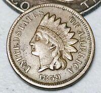 1859 CN Indian Head Cent Penny 1C High Grade Civil War Era US Copper Coin CC3227