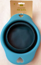 Collapsible Dog Pet Bowl Food or Water Dish for Travel Easy Storage - Blue