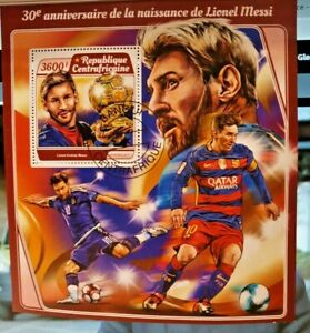Central African Republic Lionel Messi Footballer Stamp Sheet with a single stamp